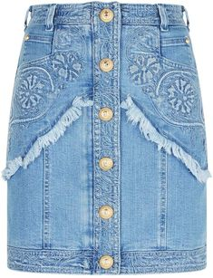 1cb0ed6bf7 Balmain Embroidered Denim Mini Skirt Mini Falda Denim