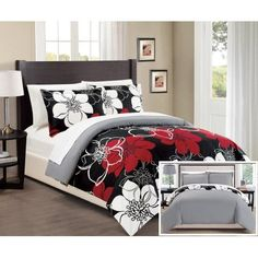 Chic Home 7-Piece Celosia Abstract Large Scale Floral Printed Queen Bed In a Bag Duvet Set Black Sheets Included