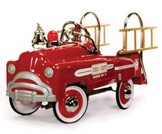 Our American Retro Fire Truck Pedal Car is made of heavy gauge steel. The American Retro Fire Truck Pedal Car also has a chrome windshield, chrome steering wheel, chrome hubcaps, chrome ringing bell and even the flashing light has a chrome base. Retro Toys, Vintage Toys, Vintage Stuff, American Retro, Ride On Toys, Pedal Cars, Rubber Tires, Fire Engine, Old Toys
