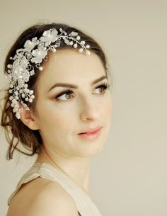 Bridal headpiece, wedding hair vine - crystal and pearl headdress vintage flower beads LE PRINTEMPS on Etsy, £169.72