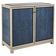 Check out this item at One Kings Lane! Madison Cabinet, Blue Leather