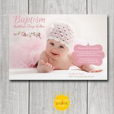 Girls Personalised Photo Invitation Printable Baptism Christening Modern Floral