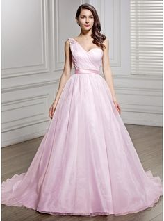 A-Line/Princess One-Shoulder Court Train Organza Charmeuse Wedding Dress With Ruffle Beading Sequins Bow(s)