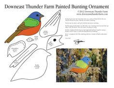 Free Pattern for Painted Bunting Felt Ornament