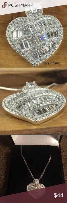 "SERENDIPITY NECKLACE NEW SERENDIPITY PENDANT AND CHAIN!! STUNNING AND UNIQUE BAGUETTE AND ROUND CUT PENDANT AAA CLEAR ELEMENTS (MEASURES APPROX .75"") SET IN PLATINUM PLATING WITH ADJUSTABLE BOX MEASURES APPROX 16-20"" includes velvet gift box Jewelry Necklaces"