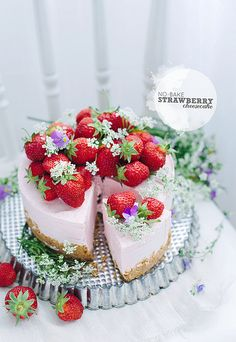 """No-bake strawberry cheesecake.  Looks so good I gotta try it.  This recipe is in grams so you might have to get the converter thru google.  Just google """"convert grams to teaspoons"""" or tablespoons and then put your amount in that you want to convert to."""