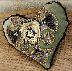 Sailor or Soldier made Beaded Pincushion Mending A Broken Heart, Vintage Sewing Notions, Fabric Embellishment, Seashell Art, Heart Art, Vintage Pins, Needle And Thread, Fabric Art, Pin Cushions