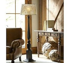 Floor Lamps, Standing Lamps & Floor Standing Lamps | Pottery Barn DIY from old/new porch pillars