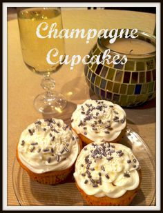 Champagne Cupcakes with Champagne Buttercream Icing  festive cupcakes, cupcakes with champagne, champagne and cupcakes