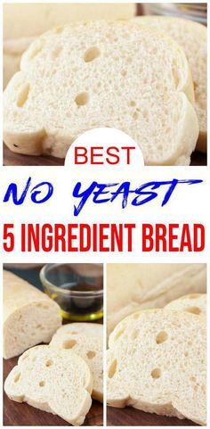 5 Ingredient Bread - Easy Homemade No Yeast Quick Loaf Bread - BEST Bread Recipes - Eggless DIY Baking,EASY homemade bread! Easy no yeast bread for side dishes, sandwiches for lunch or dinner. Learn how to make hom. Yeast Free Breads, No Yeast Bread, Yeast Bread Recipes, Biscuit Bread, Keto Bread, Cornbread Recipes, Jiffy Cornbread, Bread Food, Bread Baking