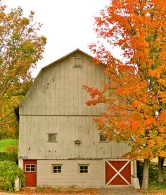To celebrate the arrival of autumn, we've compiled a virtual tour of some stunning country barns and fall leaves taken across New England. Country Barns, Country Life, Country Living, Country Roads, Barns Sheds, Farm Barn, Down On The Farm, Red Barns, Barn Quilts