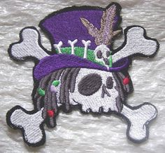 "WHO DO VOODOO SKULL Embroidered Iron On Patch 4.25"" x 4.25""  MADE in USA"