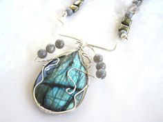 Silver Wire Wrapped Labradorite Gemstone by MissBusyBeeJewelry, $48.00