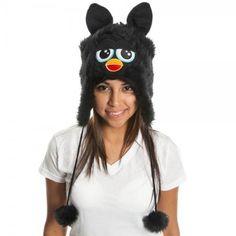 Furby Big Face Black Juniors Laplander HAT CAP Beanie