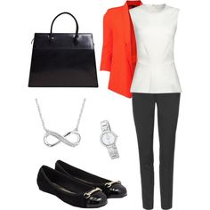 Office outfit orange blazer by allesanleigh, via Polyvore