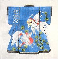 LEE Beautiful Oriental Koi Medium Kimono handpainted Needlepoint Canvas