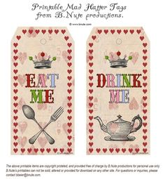 "Free Printable ""Eat Me"" & ""Drink Me"" Tags- Wow I wish I had found these BEFORE her party, but what I made worked too. :)"
