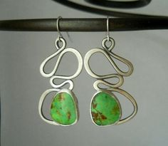 abstract gaspeite earrings, sterling silver, stone cabochon, organic
