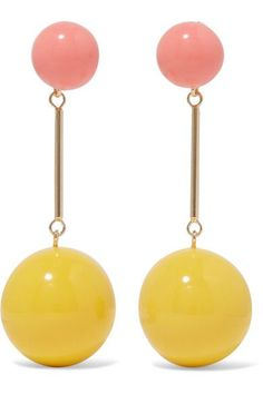 J.W.Anderson's drop earrings are a signature style reworked in rainbow bright shades. They're made from polished gold-tone brass with bubblegum and yellow spheres. Showcase yours with swept-back hair.