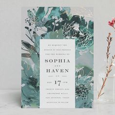 """""""Blooming Beauty"""" - Foil-pressed Wedding Invitations in Tan by Lori Wemple. Floral flowers garden botanical outdoor outside custom Minted green watercolor blue gray grey"""