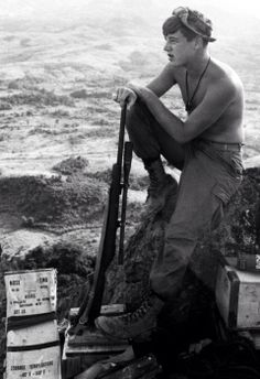 Lance Cpl. Steven Perlewitz of Algoma, Wisconsin, a sniper with 1st Marine Division/4th Marines (Reinforced), looks out over the Vietnamese countryside from the Rockpile in October, 1966. Perlewitz was killed in action on February 26, 1967 in Thua Thien province. His name is engraved on panel 15E, row 99 of the Vietnam Veterans Memorial in Washington, D.C.