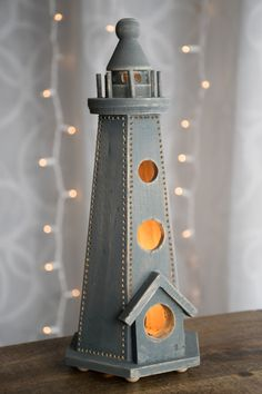 Wooden Lighthouse Night Light / Nautical Nursery Lamp by LightingBySara on Etsy