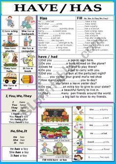 Grammar/ Verbs / Has / Have - ESL worksheet by jhansi Easy Grammar, English Grammar For Kids, Learning English For Kids, English Teaching Resources, English Grammar Worksheets, English Lessons For Kids, English Study, Learn English, Esl Worksheets For Beginners