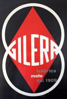 Gilera Fabrica Moto Motorcycles, 1960s - original vintage poster by Ugo Riboldi listed on AntikBar.co.uk