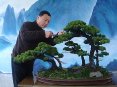 Water-and-land penjing depicts not only a landscape consisting of mountains and water but also the image of a tree or a forest. Description from happybonsai.com. I searched for this on bing.com/images