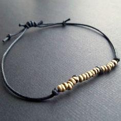 Black waxed cotton cord adjustable friendship bracelet by lowusu, $8.00