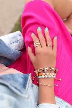 The turquoise crystal friendship bracelet is also currently residing on my right wrist...