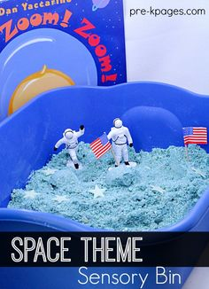 Space Theme Sensory Bin for Preschoolers. A super easy DIY recipe for Moon Sand, plus a fun sensory play experience for learning about space with preschool and kindergarten kids.