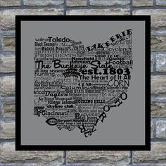Ohio State Word Art Typography Print- 12x18 The Buckeye State Ohio State Pride on Etsy, $25.00
