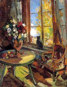"""Black cat on a windowsill"", Konstantin Korovin"