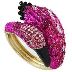 Gracie's Fancy Chunky Pink Crystal Figural Flamingo Bird Hinge Statement Cuff Bangle Bracelet