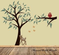 Tree Decal for kids with Fawn Owl and by HouseHoldWords on Etsy, $99.00