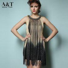 Vestido de noche estilo vintage con flecos metalizados