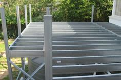 Boxspan DIY Steel Deck Kits & Verandah Floor Frames (Non-Combustible) - Spantec Steel Framing, Deck Framing, Floor Framing, Balcony Design, Deck Design, Porches, Metal Deck, Wooden Walkways, Deck Construction
