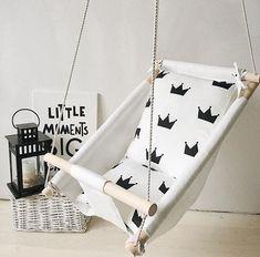 [ Baby swing, hanging cradle, kids hammock, linen and wooden decor Kids Hammock, Baby Hammock, Kids Swing, Baby Swings, Hammocks, Baby Diy Projects, Baby Crafts, Baby Craddle, Hanging Cradle