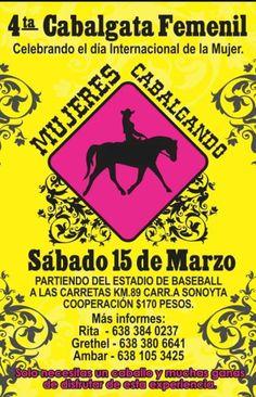 """Sábado 15 de Marzo: 4ta Cabalgata Femenil """"Mujeres Cabalgando"""" partiendo del Estadio de Beisbol"""