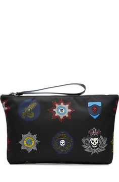 ALEXANDER MCQUEEN Fabric Pouch with Patch Print. #alexandermcqueen #bags