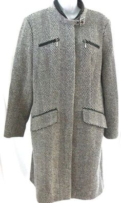 H Hilfiger Wool Mohair Leather Trim Winter Long Women's Coat Tommy Hilfiger Sz L #HHilfigerbyTommyhilfiger #TrenchOvercoat #Casual