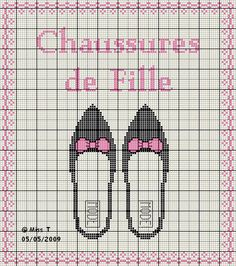 chaussures - shoe - fille - point de croix-cross stitch - broderie-embroidery- Blog : http://broderiemimie44.canalblog.com/