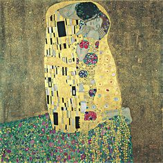 """Gustav Klimt. Title: The Kiss """"It is a cavernous earth of labyrinthine intricacy, twenty-seven folds of opaqueness, and finishes where the lark mounts.""""   -William Blake"""