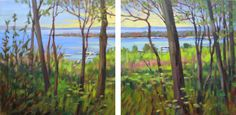 From the Bluff- Pastel painting of Harbor Springs, Michigan from above by Jill Stefani Wagner   www.jillwagnerart.com