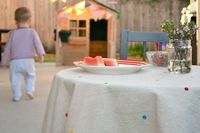 I had this fantastic idea for making children's bed linen. First I wanted to test my technique and my paints on a smaller project - a child sized tablecloth. The materials I used included: 1 metre square cotton tablecloth. I purchased the cotton and hemmed it myself. It's a bit...