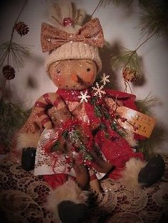 Primitive Folk Art Winter Snowman Snowgirl Doll Gingerbread Man Candy Cane | eBay