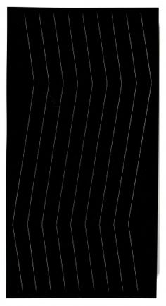Spazio Elastico, 1966/67  Gianni Colombo Wood, elastic and mechanism  78 3/4  x 39 3/8 x 6 5/8  inches  Installation view, Greene Naftali, New York, 2013