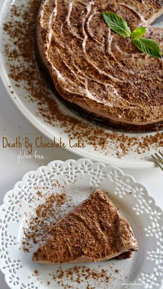 GLUTEN-FREE DEATH BY CHOCOLATE CAKE ~ This luxurious dessert will make an impressive finale for any dinner party. The chocolate truffle bottom with creamy mousse topping is truly spectacular.