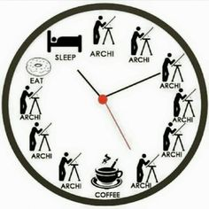 Perfect clock in a day of architecture student